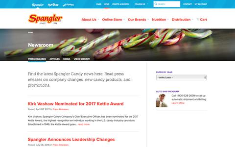 Screenshot of Press Page spanglercandy.com - Press Releases | Spangler Candy - captured June 15, 2017