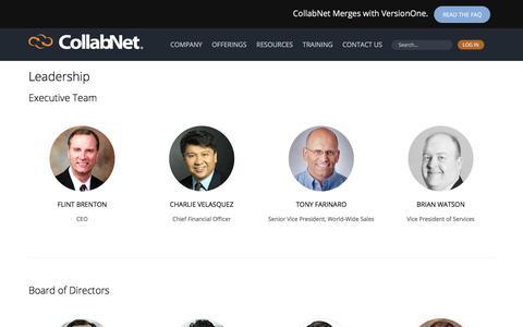 Screenshot of Team Page collab.net - Leadership | CollabNet - captured Jan. 13, 2018