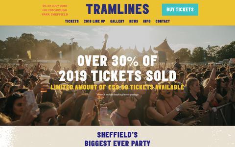 Screenshot of Home Page tramlines.org.uk - Home - Tramlines - captured Sept. 27, 2018