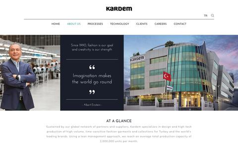 Screenshot of About Page kardem.com - ABOUT KARDEM - high-tech time-sensitive clothing for leading brands - captured Sept. 20, 2018