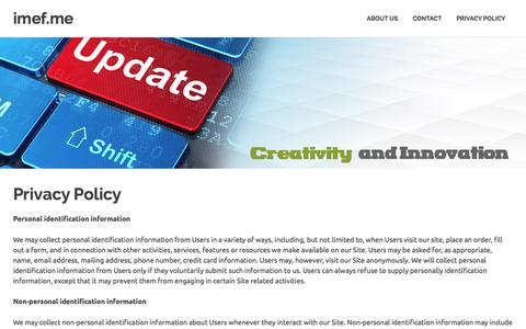 Screenshot of Privacy Page imef.me - Privacy Policy - imef.me - captured Sept. 23, 2017