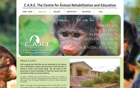Screenshot of About Page primatecare.org - What Does C.A.R.E. Do? Wildlife and baboon rehabilitation centre. - captured Jan. 31, 2017