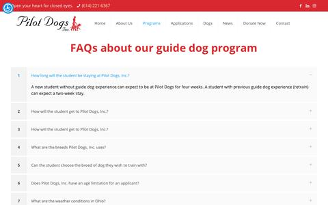 Screenshot of FAQ Page pilotdogs.org - Guide Dog FAQs – Pilot Dogs - captured Nov. 2, 2018