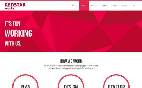 Screenshot of About Page redstarworks.com - About - REDSTAR WorksREDSTAR Works - captured Oct. 26, 2014
