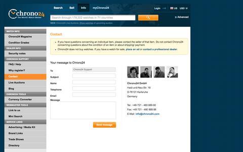 Screenshot of FAQ Page chrono24.com - Chrono24 - Info/Service - Contact - captured Sept. 13, 2014