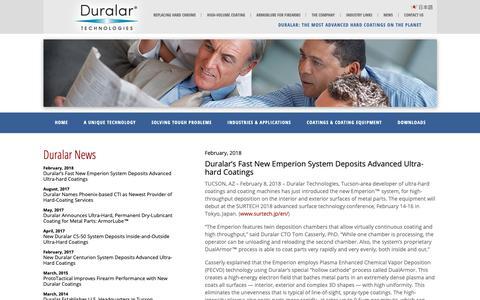 Screenshot of Press Page duralar.com - Duralar's Fast New Emperion System Deposits Advanced Ultra-hard Coatings - Diamond Like Carbon Coatings | High Wear Resistant Steel | Duralar.com - captured Oct. 9, 2018