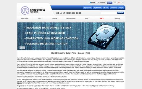 Screenshot of Home Page harddrivesforsale.com - Hard Drives For Sale | Parts | Donors | PCB - captured Sept. 30, 2014