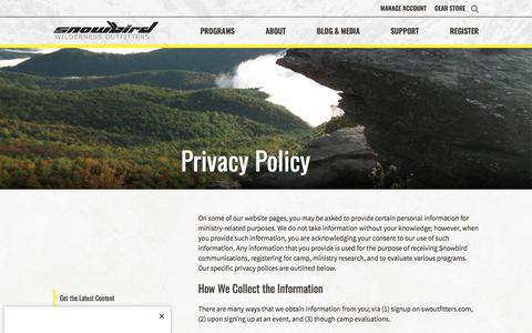 Screenshot of Privacy Page swoutfitters.com - Privacy Policy – Snowbird Wilderness Outfitters : Snowbird Wilderness Outfitters - captured April 22, 2018