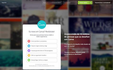 Screenshot of Signup Page canva.com - Software de deseño gráfico incriblemente sinxelo – Canva - captured Nov. 20, 2017
