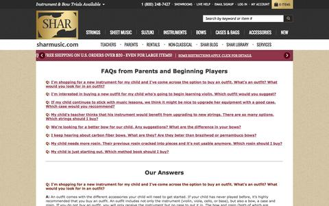 Screenshot of FAQ Page sharmusic.com - FAQs from Parents and Beginning Players | Shar Music - sharmusic.com - captured Nov. 2, 2014