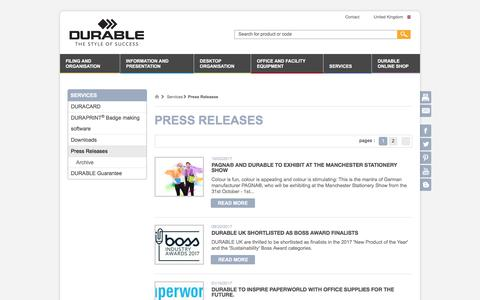 Screenshot of Press Page durable-uk.com - Press Releases - DURABLE - captured Oct. 11, 2017