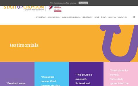 Screenshot of Testimonials Page startupcroydon.co.uk - Testimonials |  Start Up Croydon - captured July 6, 2018
