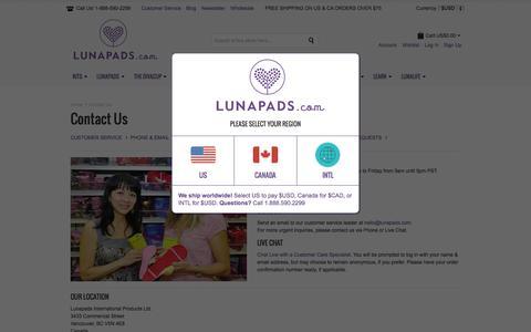 Screenshot of Contact Page lunapads.com - Contact Us | Lunapads.com - captured July 20, 2015