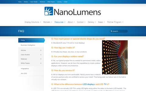 Screenshot of FAQ Page nanolumens.com - Frequently Asked Questions - captured July 20, 2014