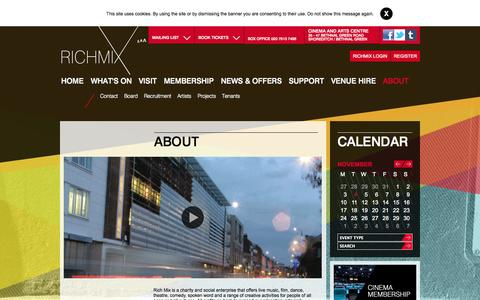Screenshot of About Page richmix.org.uk - About :: Rich Mix - captured Nov. 4, 2014