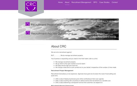 Screenshot of About Page chrisrawlins.co.uk - Recruitment Management,Recruitment Process Outsourcing, Recruitment Operations Direction, Recruitment Consultancy, Talent Acquisition Channel Consultancy, Assessment Event Organisation, Recruit - captured Oct. 2, 2014