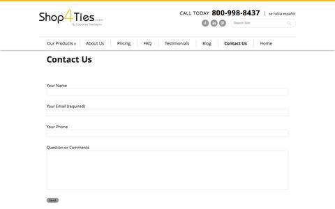 Screenshot of Contact Page shop4ties.com - Contact Shop 4 Ties - captured Oct. 29, 2014
