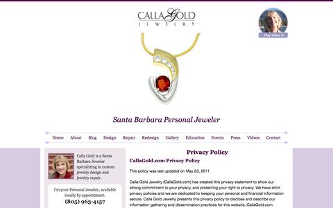 Screenshot of Privacy Page callagold.com - Calla Gold Jewelry Privacy Policy - captured June 22, 2017