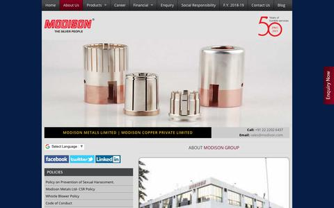 Screenshot of About Page modison.com - Bimetal Strips Manufacturers |CuNi2Si, CuNi, Cu-Ag 0.1% | Contact Materials Development - captured Nov. 5, 2018