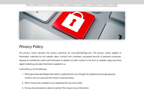 Screenshot of Privacy Page atpmeetings.com - PRIVACY POLICY - captured Oct. 2, 2018