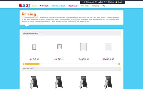 Screenshot of Pricing Page eazl.com - Eazl Pricing - captured Oct. 27, 2014