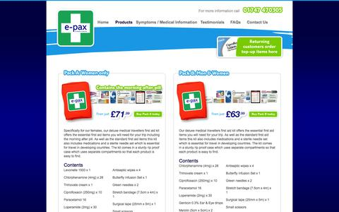 Screenshot of Products Page e-pax.co.uk - Epax Medical Travel Products | The only medical kit containing prescription antibiotics | Epax Medical Travel Kit - captured Oct. 3, 2014