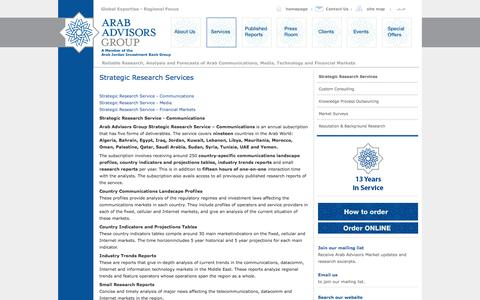Screenshot of Services Page arabadvisors.com - Strategic Research Services   Arab Advisors Group - captured Oct. 4, 2014