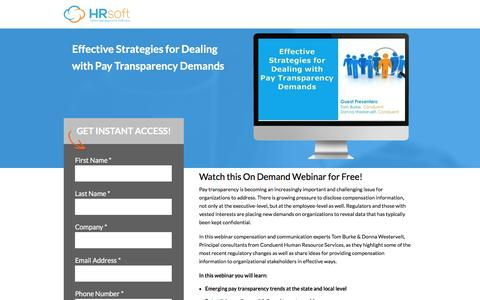Screenshot of Landing Page hrsoft.com - Effective Strategies for Dealing with Pay Transparency Demands - captured May 2, 2017