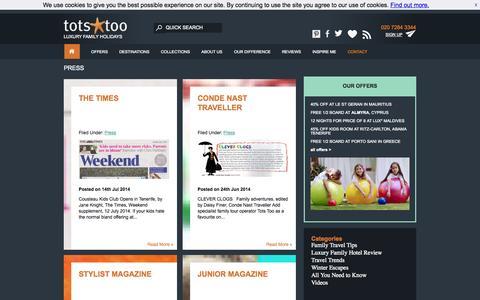 Screenshot of Press Page totstoo.com - Press   Tots Too - captured Sept. 19, 2014