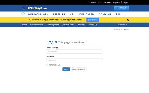 Screenshot of Login Page tnphost.com - Client Area - TNP HOST - captured Jan. 12, 2016