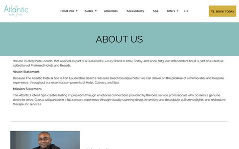 Screenshot of About Page atlantichotelfl.com - About Us | The Atlantic Hotel & Spa - captured Nov. 9, 2018