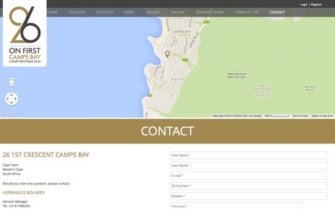 Screenshot of Contact Page 26onfirst.com - Contact –  26 ON FIRST CAMPS BAY - captured Nov. 1, 2014