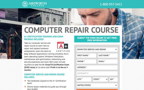 Screenshot of Landing Page ashworthcollege.edu - Computer Repair Courses Online - Ashworth College Online - captured June 21, 2017