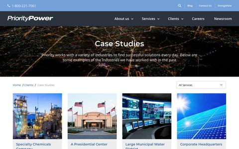 Screenshot of Case Studies Page prioritypower.net - Case Studies - Priority Power Management - captured Sept. 29, 2018