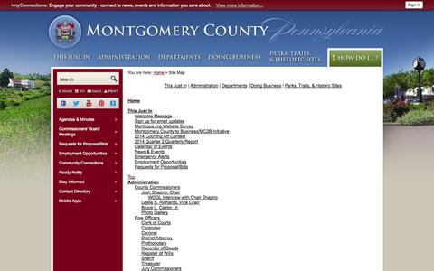 Screenshot of Site Map Page montcopa.org - Montgomery County, PA - Official Website - captured Oct. 31, 2014