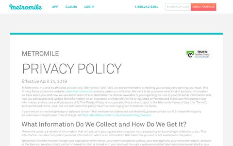 Screenshot of Privacy Page metromile.com - Privacy Policy - Metromile - captured Aug. 16, 2019