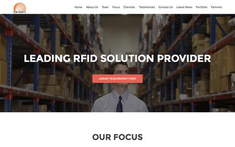 Screenshot of Home Page orizin.net - Orizin Technologies | RFID Solution Provider - captured Aug. 12, 2015