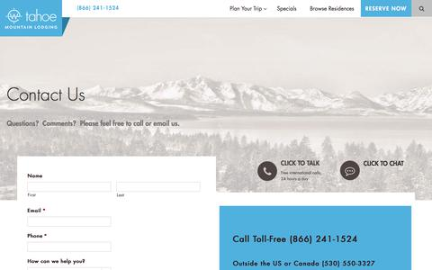 Screenshot of Contact Page tahoemountainlodging.com - Contact Us with Lodging Questions | Tahoe Mountain Lodging - captured Oct. 24, 2017