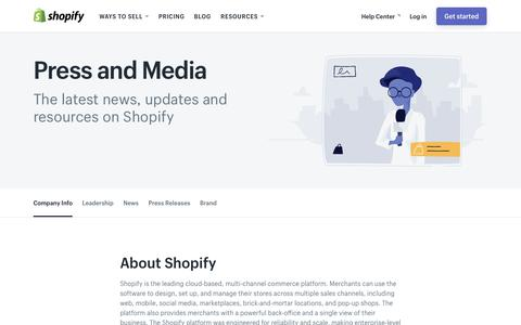 Screenshot of Press Page shopify.com - Shopify Press and Media - captured July 9, 2018