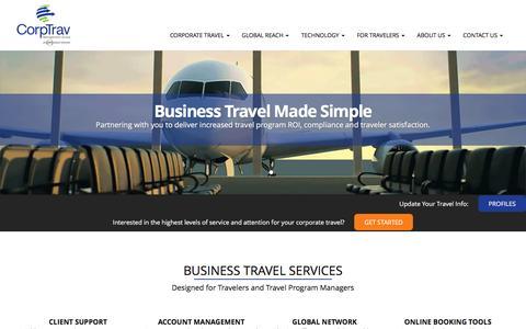 Screenshot of Home Page corptrav.com - Corporate Travel and Managed Travel Programs | CorpTrav - captured Nov. 12, 2016