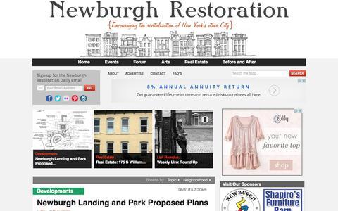 Screenshot of Home Page newburghrestoration.com - Newburgh Restoration | Leading the revitalization of Newburgh, NY - captured Aug. 31, 2015