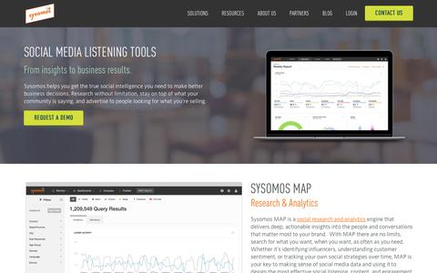 Screenshot of Products Page sysomos.com - Social Media Listening Tools | Social Listening Platform - captured July 3, 2016