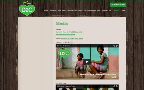 Screenshot of Press Page devoted2children.com - Media | Devoted to Children Foundation - captured Oct. 5, 2014