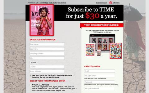 Screenshot of Landing Page time.com - TIME Magazine Subscription Offer - captured May 3, 2017
