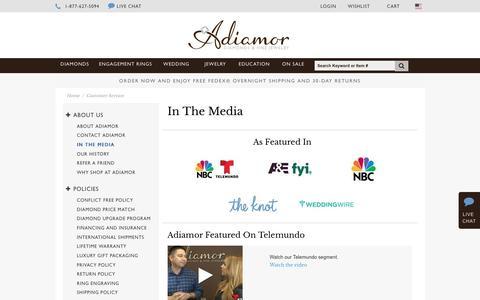 Screenshot of Press Page adiamor.com - In The Media | Adiamor - captured May 29, 2017
