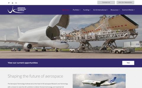 Screenshot of Jobs Page ati.org.uk - Careers - Aerospace Technology Institute - captured Oct. 1, 2018