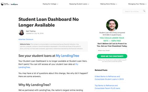 Screenshot of Signup Page Login Page studentloanhero.com - Student Loan Dashboard No Longer Available | Student Loan Hero - captured July 12, 2019