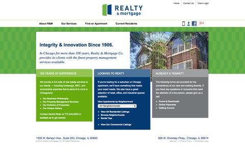 Screenshot of Home Page realtymortgageco.com - Chicagoland Apartments | Integrity & Innovation Since 1906 |Realty & Mortgage Co. - captured Sept. 19, 2014