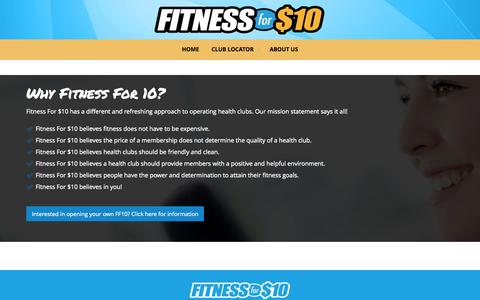 Screenshot of About Page fitnessfor10.com - Why Fitness For 10 | Fitness For $10 - captured Nov. 23, 2015
