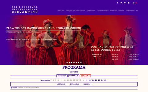 Screenshot of Home Page festivalcervantino.gob.mx - FICXLIII - XLIII Festival Internacional Cervantino - captured Oct. 19, 2015